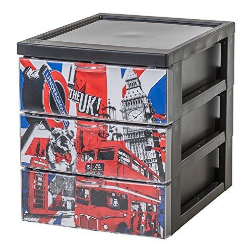 IRIS 143227 Design Schubladencontainer/Rollwagen Style Chest Flat A5, 3 Schubladen 2 L, Plastik, 25,8 x 19,1 x 22 cm