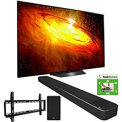 LG OLED55BXPUA 55-inch BX 4K Smart OLED TV with AI ThinQ (2020) Bundle SN8YG 3.1.2 ch High Res Audio Soundbar + TaskRabbit Installation Services + Vivitar Low Profile Flat TV Wall Mount by LG