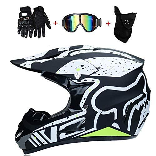 LSLVKEN Motocicleta Motocross Motocicleta Cascos y Parabrisas y Guantes y Gafas D.O.T Standard Kids Quad Bike ATV Go-Kart-Helmet Fox,L