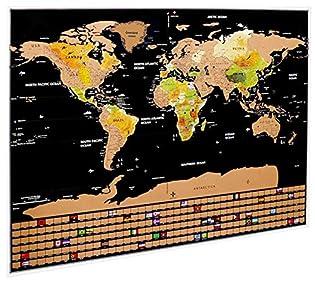 Idefair - Póster de mapa del mundo para arañar el mapa del mundo, con fondo de colores, banderas y accesorios para viajeros