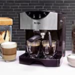 Mr. Coffee Automatic Dual Shot Espresso/Cappuccino System 12 15-bar pump system uses powerful pressure to extract a dark, rich espresso brew Frothing arm makes creamy froth to top off your cappuccinos and lattes Make 2 single shots at once with dual-shot brewing. Watts: 1250