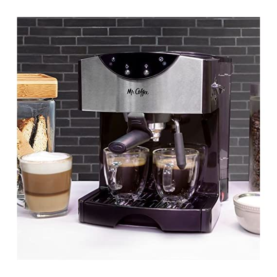Mr. Coffee Automatic Dual Shot Espresso/Cappuccino System 3 15-bar pump system uses powerful pressure to extract a dark, rich espresso brew Frothing arm makes creamy froth to top off your cappuccinos and lattes Make 2 single shots at once with dual-shot brewing. Watts: 1250
