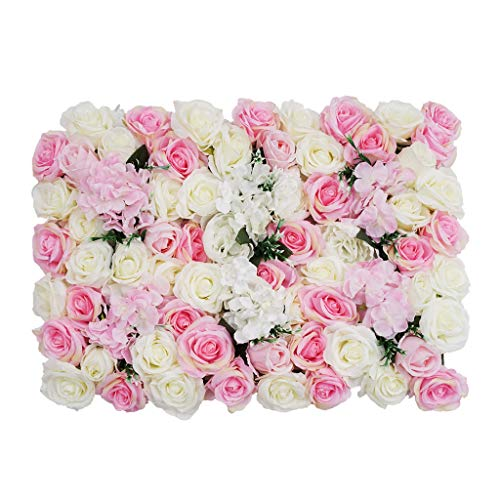 Shiwaki Flower Panels Artificial Flowers Wall Screen Romantic Floral Backdrop Hedge Home Decor...