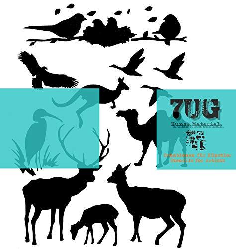 7UG Schablone Tiere, Animals, DIN A4, mit 12 Motiven, Hirsch, Adler, Kamel, Vögel, Känguru, Enten etc etc.