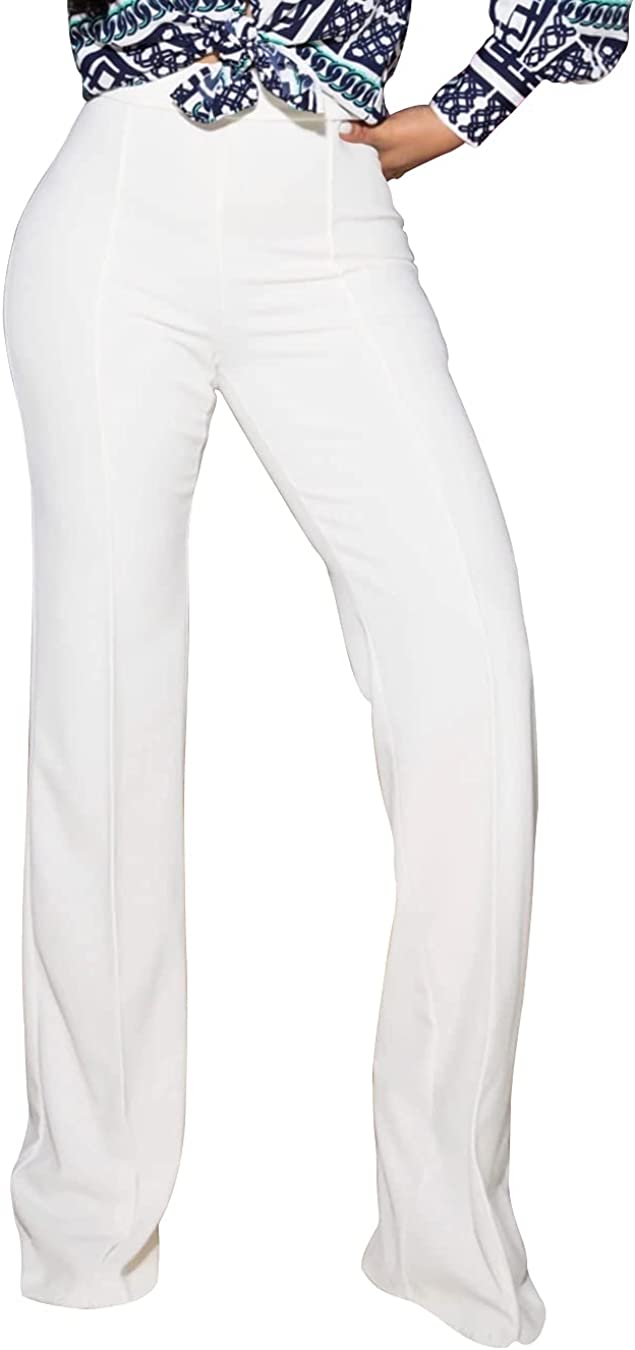 PINSV Women's High Waisted Stretchy Bootcut Pull On Dress Pants Casual Work Pants