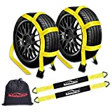 """Autofonder 2Pc Tow Dolly Basket Straps with Flat Hook for 14""""-17"""" Tires -10,000 lbs Breaking Strength Tire Bonnet&Tire Net -2"""" Over Wheel Car Basket Tie Down Straps with Axle Straps,Carrying Bag"""