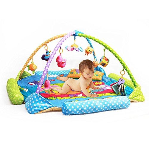 Zinsale 4-in-1 Große Kind Baby Spielmatte Floor Gym Spielbögen Gepolsterte Krabbeldecke mit Aktivitätscenter, Musik, Sound und Lernspielzeug (Ozean)