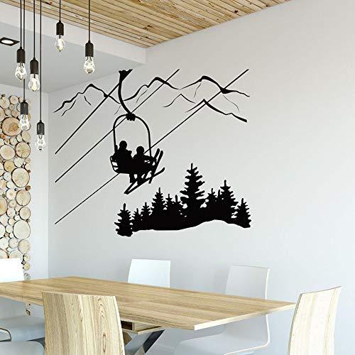 YuanMinglu Ski Room Applique Skieur télésiège Chaise Montagne pin Arbre Vinyle Stickers muraux Sports d 39 Hiver décoration de la Maison Noir 50x42cm