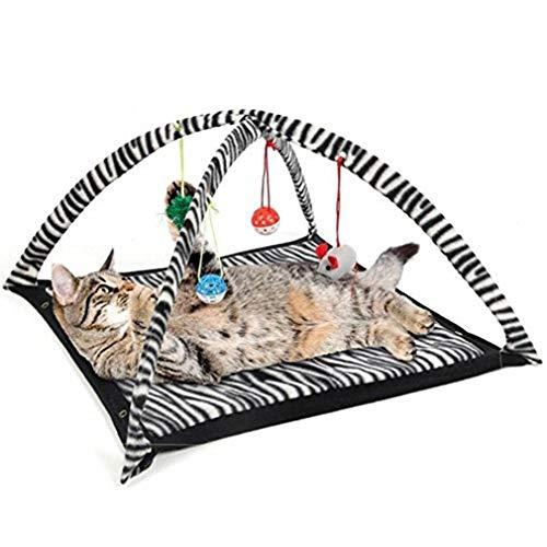 Yeliu Divertida Tienda de Juegos para Gatos con Juguetes Colgantes, Bolas, Cama para Gatos, Tienda de campaña, Manta para Gatos, Blanco y Negro