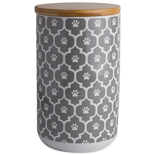 Bone Dry Lattice Collection Pet Bowl & Canister, Canister - 4 x 4 x 6.5', Gray