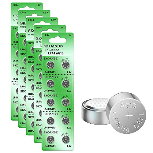 SKOANBE AG13 LR44 303 357 A76 SR44 1.5V Battery Button Coin Cell Batteries-50packs