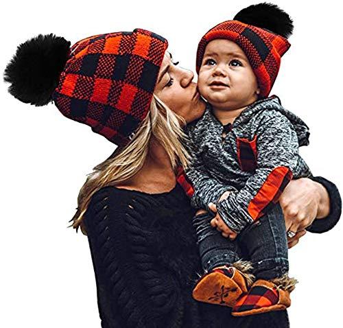 Mihqy 2 Piezas de Navidad Sombrero para Padres E Hijos Madre Hijo Hija Hijo Bebé Invierno Cálido Suave Gorro de Punto Gorro de Esquí de Ganchillo Familiar con Pompón