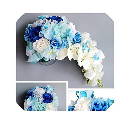 Rosa Lila Wasser-Tropfen Wasserfall Elegante Wedding Bouquet Artificial Carla Lily Braut Brautstrauß Braut Wedding Bouquet, Blau