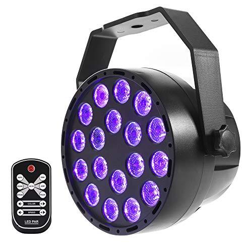 18 LED UV Schwarzlicht mit Fernbedienung,MICTUNING Bühnenbeleuchtung schwarzlicht Scheinwerfer 7 Modi für Party Bühne KTV Club Disco Geburtstag