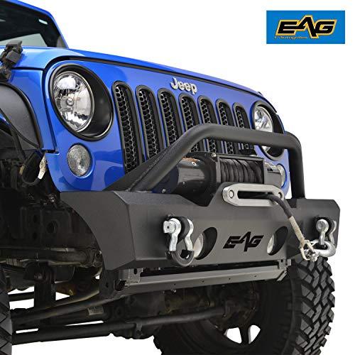 EAG Stubby Front Bumper W/ Fog Light Holes Fit for 07-18 Wrangler JK