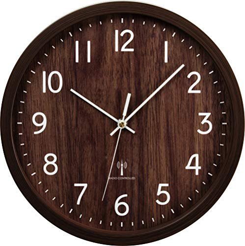 有 アイリスプラザ 壁掛け時計 掛け時計 薄型 軽量 シンプル おしゃれ 静か かけ時計 オシャレ ダークブラウンPWCRR-30-T