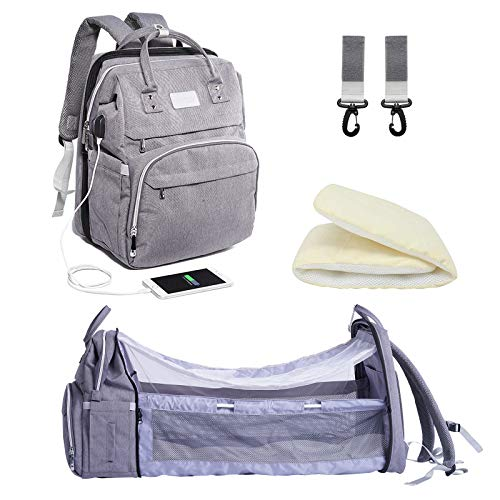 3 in 1 Travel Bassinet Foldable Baby Bed, Dongzhur Waterproof Diaper Bag Backpack with Portable Crib, USB Charging Port & Thicken Velvet Sleeping Pad for Girls Boys Mom & Dad (Large Capacity)(Grey)
