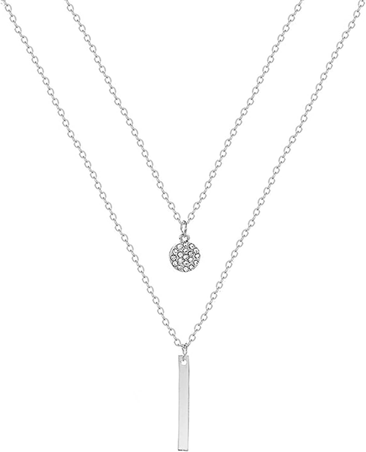 Underleaf Dot Vertical Bar Double Layered Long Chain Choker Minimalist Y Necklace for Women Ladies Jewelry Gifts