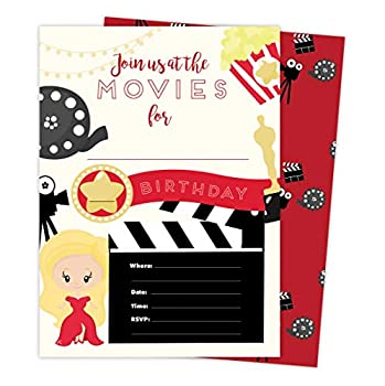 Movies 1 Happy Birthday Invitations Invite Cards  25 Count  With Envelopes and Seal Stickers Vinyl Girls Boys Kids Party  25ct