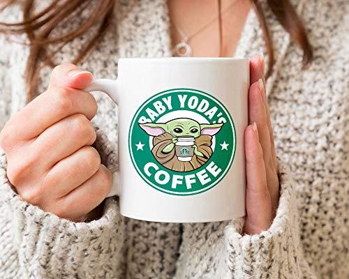 Baby Yoda\'s Kaffeetasse Baby Yoda Starbuck Kaffeetasse Lustige Tasse Baby Yoda, Yoda Lover Keramik Kaffeetasse Geschenk für Männer Frauen 313 ml