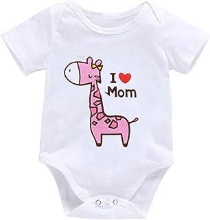TZOU Infant Baby Cute Giraffe Romper I Love Dad Mom Short Sleeve Jumpsuit Toddler Clothing MOM 12-18-XXL