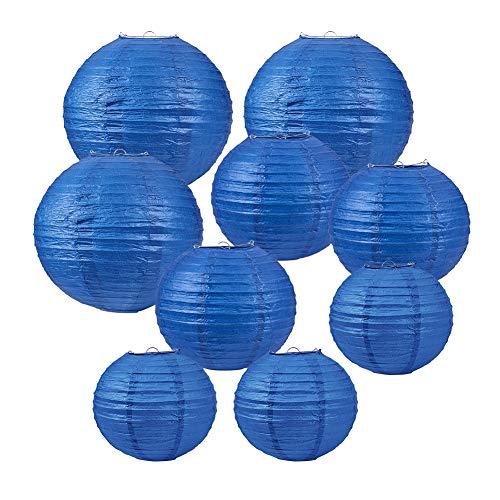 BENECREAT 21 PACK 3 Größe Blaue Runde Papierlaternen mit Metallrahmen, Papier Lampenschirm hängen Geburtstag Hochzeit Party Event Dekorationen Set