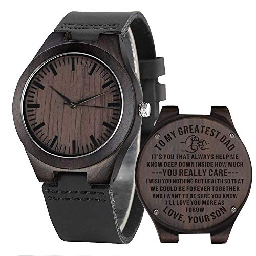 Engraved Wooden Watch to Dad from Son to Father Personalized Birthday Anniversary Wood Watch for Dad...