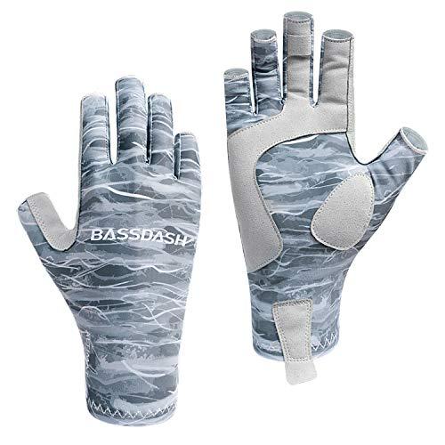 Bassdash ALTIMATE Guantes de pesca sin dedos para caza, protección solar, protección solar UPF 50+, guantes UV para kayak, remo, senderismo, ciclismo, conducción, tiro y entrenamiento