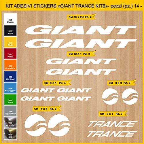 Pimastickerslab Aufkleber Fahrrad Giant Trance_ KIT6 Kit Aufkleber Stickers 14 Stück – bici Bike Cycle wählbar Cod.0862 (010 Bianco)