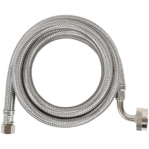 Certified Appliance Accessories Dishwasher Hose with 90 degree FGH Elbow, Water Supply Line, 6 Feet, Premium Braided Stainless Steel with PVC Core