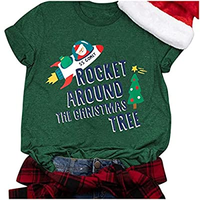 Amazon - Save 80%: 2021 Funny Print T-Shirts, Christmas Women Short Sleeve Casual T-Shirt San…