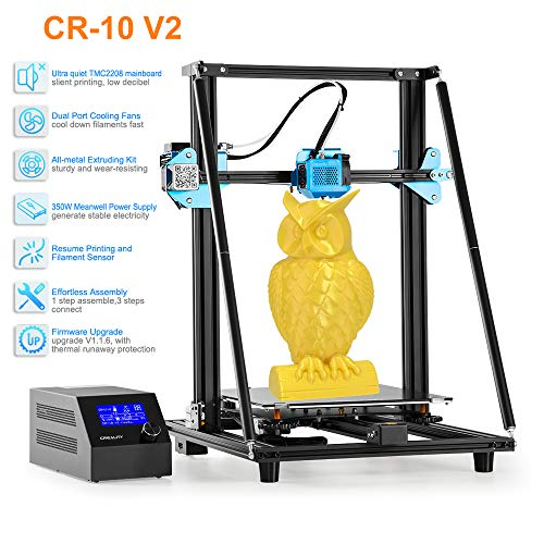Creality CR-10 V2 3D Printer 7 Disruptive Upgrades with Inudstrial Grade Mute System,Two-Way Sphenoid Heat Dissipation,All Metal Extruding,MeanWell Power,300×300×400MM