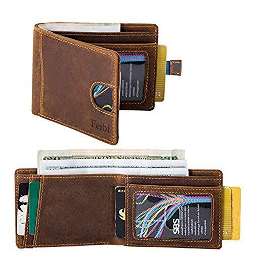 Mens Wallets minimalist wallet RFID Blocking Slim Bifold Leather Wallets for Men
