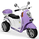 Kidzone Ride On Scooter 6V Toy Battery Powered Electric 3-Wheel Power Bicycle W/ Music, Horn, Headlight, Purple