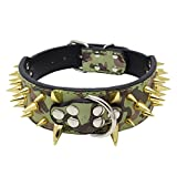 Avenpets Cool Gold Sharp Spikes Studded Pet Dog Collars for Small Medium Large Dogs Boxer Bulldog Pitbull,Camouflage,XS:(Neck 15-18