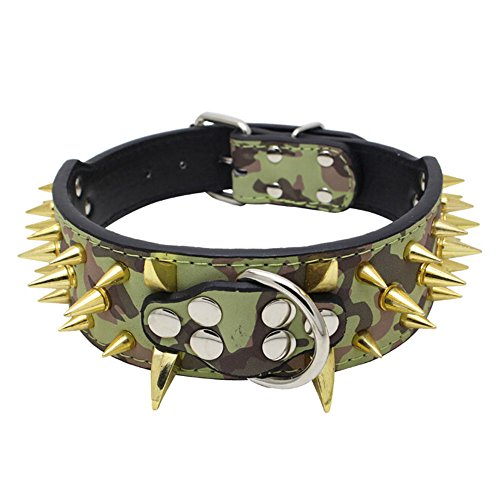 Avenpets Cool Gold Sharp Spikes Studded Pet Dog Collars for Small Medium Large Dogs Boxer Bulldog Pitbull,Camouflage,XS:(Neck 15-18')