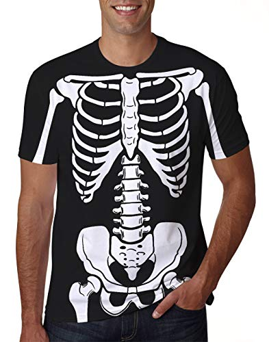 uideazone Cosplay Costume for Men Women 3D Skeleton Bone Halloween t-Shirt Short Sleeve Tee Shirt Plus Size XX-Large