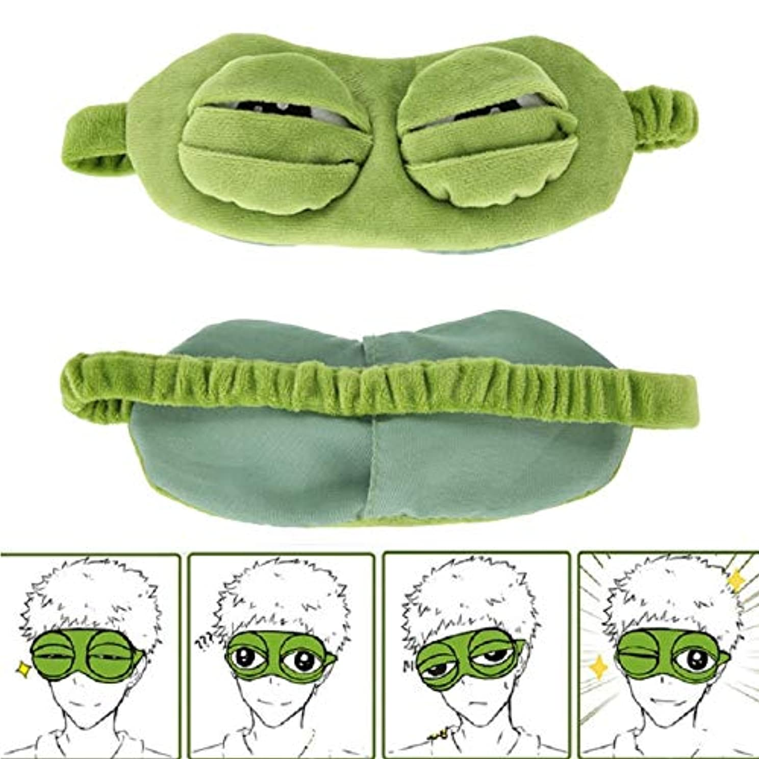 寂しいコロニー軍艦NOTE かわいい目のマスクカバーぬいぐるみ悲しい3Dカエルグリーンアイマスクカバーリラックス眠って休息旅行睡眠アニメ面白いギフト美容ゴーグル