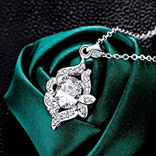 European and American Jewelry Silver Plated Gemstone Necklace (Color : Champagne) Girls Necklace (Color : White)
