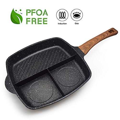 3 Section Meal Skillet Fast Cook Breakfast Pan 3-in-1 Grill Pan