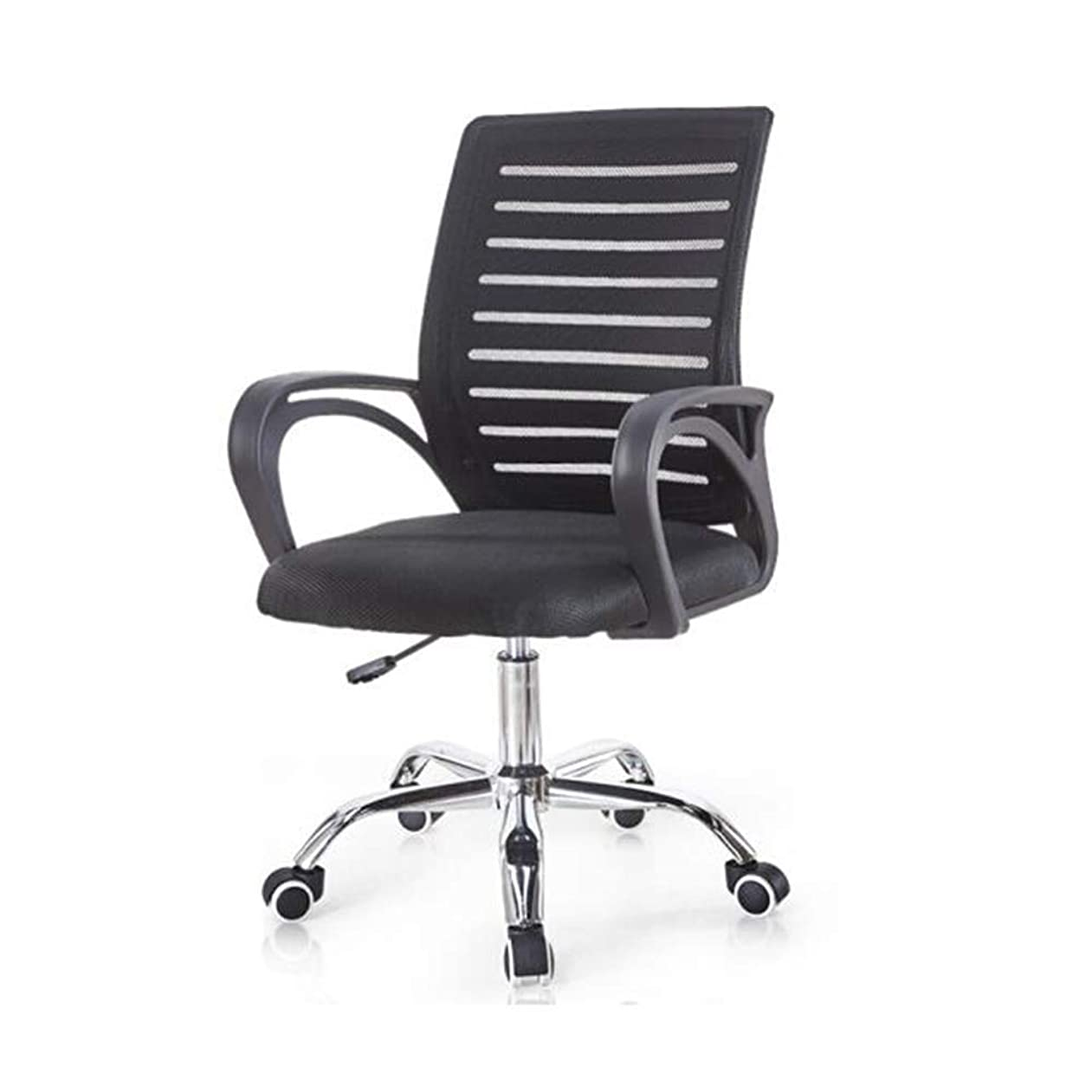 光沢やりすぎ光沢のある椅子、メッシュデスク調節可能アームレストバックサポート人間工学に基づいた回転ホームオフィスゲーミングブラック