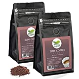Weight Loss Coffee Kupah Slim Blend Ground Coffee Two Bags 17.62 oz | Diet & Energy | Garcinia & Ginseng | Keto & Paleo Friendly | for Drip Coffee Brewers and French Press