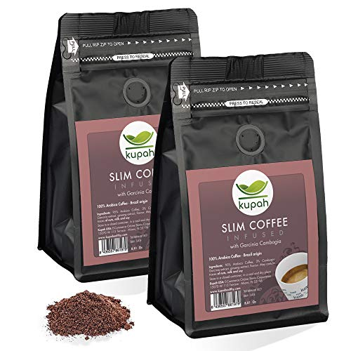 Weight Loss Coffee Kupah Slim Blend Ground Coffee Two Bags 17.62 oz   Diet & Energy   Garcinia & Ginseng   Keto & Paleo Friendly   for Drip Coffee Brewers and French Press