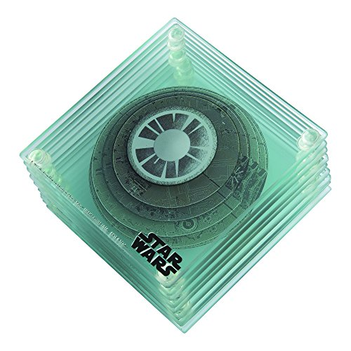 Vandor 55479 Wars 3D Death Star Stacking Glass Drink Coasters, 5 x 5.3 x 0.25 Inches, 9 Piece Set