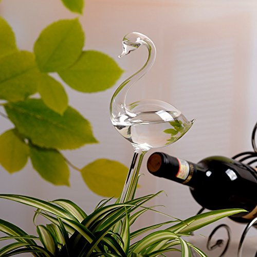 Arrosoir Automatique Forme Cygne en Verre Automatic Plant Waterer Dispositif d'Arrosage pour Fleurs Jardin Outdoor and Indoor (Transparent)