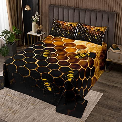 Juego de cama de nido de abeja tamaño king size, colcha de abejas para niñas y niños, diseño de abejas hexagonal de colmena geométrica a la moda con 2 fundas de almohada, naranja, amarillo y negro