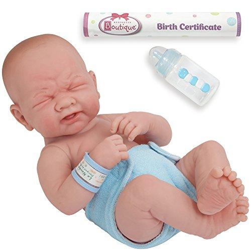 JC Toys La Newborn Boutique 18502 Poupée réaliste en Vinyle pour garçon 14 Ans avec Inscription « First Tear » conçue par Berenguer - Fabriquée en Espagne - Bleu