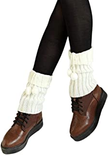 TOBEEY, Cubrebotas cortas para mujer Twist Knitted Ribbed Leg Warmers Calcetines Crochet Boots Puños