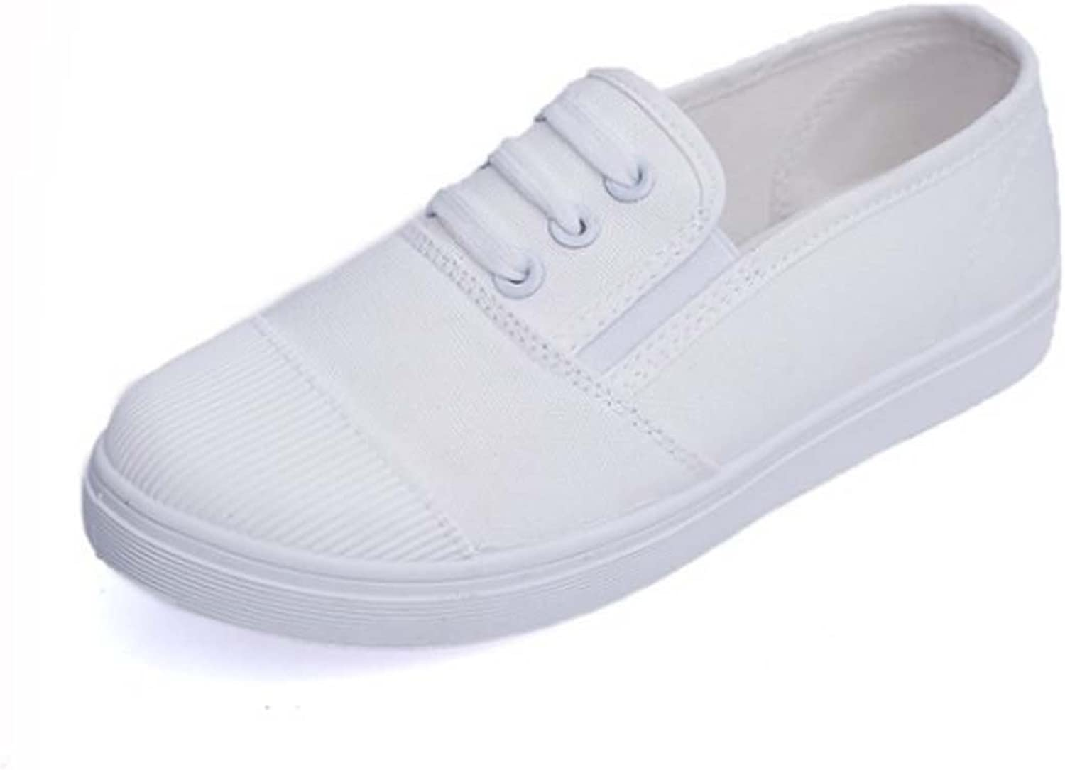 Women Casual shoes Canvas Shallow Mouth Flat shoes ( color   White )