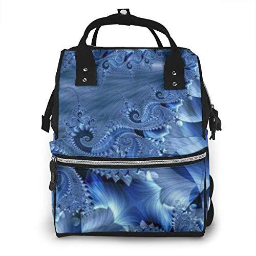 Damen Rucksack mit Reißverschluss, großes Fassungsvermögen, Schwimmwindeln, schwarzer Mops, Minze